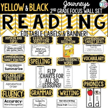 Journeys 2nd Grade Focus Wall Set {Yellow, Black, White} {Bee Theme}