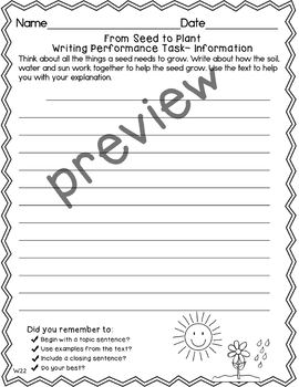 Journeys 2nd Grade From Seed to Plant Weekly Skills Test and Writing Task