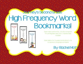 Journeys 2nd Grade High Frequency Word Bookmarks!
