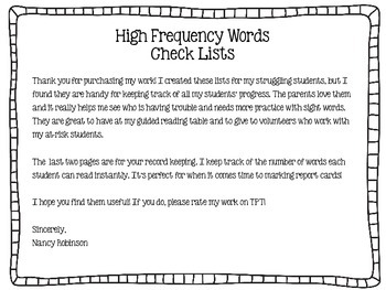 Journey's 2nd Grade High Frequency Words Check Lists