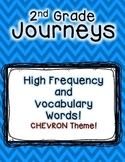 Journeys 2nd Grade High Frequency and Vocab for Word Wall: Colorful Chevron