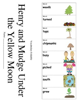 Journeys 2nd Grade Lesson 3 Vocabulary Foldable; Henry and Mudge Under