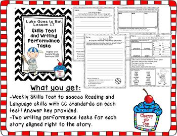 Journeys 2nd Grade Luke Goes to Bat Weekly Skills Test and Writing Task
