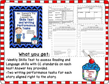 Journeys 2nd Grade Mr. Tanen's Tie Trouble Weekly Skills Test and Writing Tasks