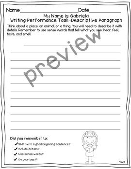 Journeys 2nd Grade My Name is Gabriela Weekly Skills Test and Writing Tasks