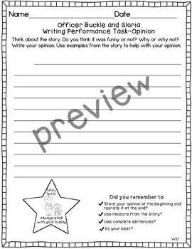 Journeys 2nd Grade Officer Buckle and Gloria Weekly Skills Test and Writing