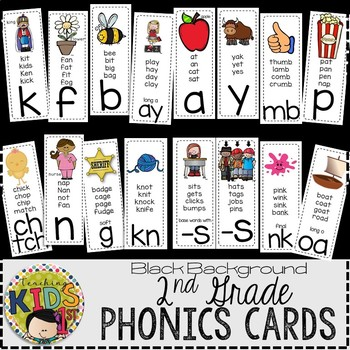 Journeys 2nd Grade Phonics Cards (BLACK BACKGROUND)