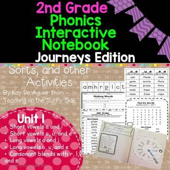 Journeys Unit 1 2nd Grade Phonics Skills, Interactive Notebook, and Sorts