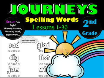 Journeys 2nd Grade Rainbow Write ~ Spelling Words ~ All 30 Lessons!
