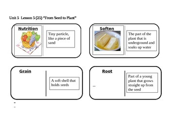 """Journeys 2nd Grade Reading Series Vocabulary Dominoes """"From Seed to Plant"""""""
