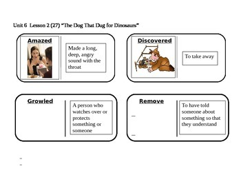 """Journeys 2nd Grade Reading Series Vocabulary Dominoes """"The Dog that Dug for..."""""""