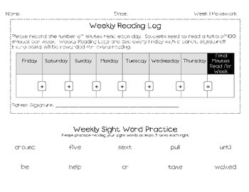 Journey's 2nd Grade Spelling, Reading & Sight Word Homework