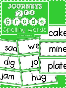 Journeys 2nd Grade Spelling Words-Green