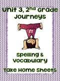 Journey's Unit 3  2nd Grade Spelling and Vocabulary -Take Home Pages