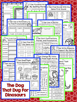 The Dog That Dug For Dinosaurs Second Grade NO PREP Supplemental Printables