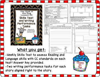 Journeys 2nd Grade The Goat in the Rug Weekly Skills Test and Writing Tasks