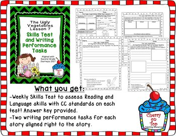 Journeys 2nd Grade The Ugly Vegetables Weekly Skills Test and Writing Tasks