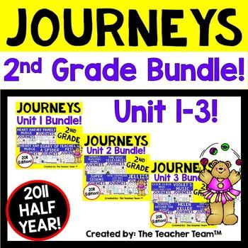 Journeys 2nd Grade Unit 1-3 Half Year Supplemental Activities & Printables 2011