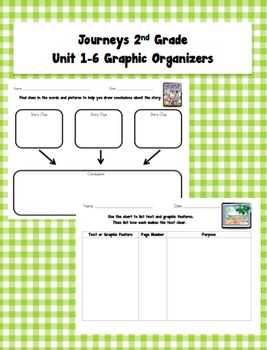 Journeys 2nd Grade Unit 1-6 Graphic Organizers