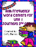 Journeys 2nd Grade Unit 1 High Frequency Word Centers