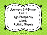 Journeys 2nd Grade Unit 1 High Frequency Words Activity Sheets