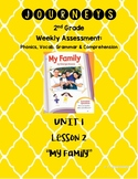 "Journeys 2nd Grade Unit 1 Lesson 2 Assessment: ""My Family"""