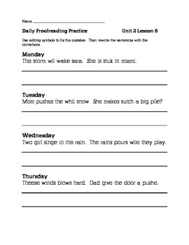 Journeys 2nd Grade Unit 2 Daily Proofreading Practice