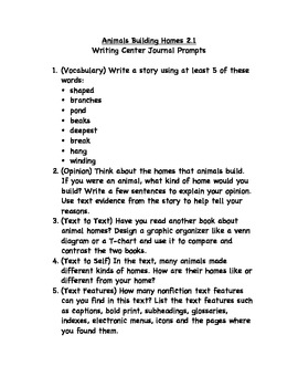 Journeys 2nd Grade Unit 2 Writing Center Prompts