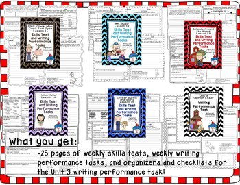 Journeys 2nd Grade- Unit 3 Bundle Skills Tests and Writing Tasks