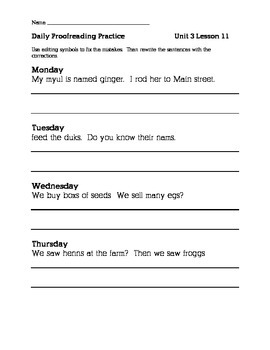 Journeys 2nd Grade Unit 3 Daily Proofreading Practice