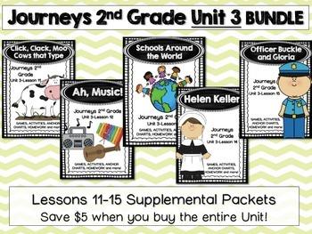 Journeys 2nd Grade Unit 3 Lessons 11-15 BUNDLE