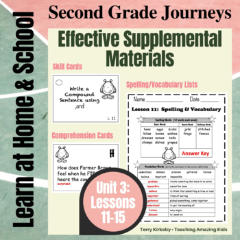 Journeys 2nd Grade - Unit 3 Student Study Guides & Activities for Lessons 11-15