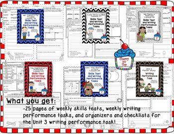 Journeys 2nd Grade- Unit 4 Bundle Skills Tests and Writing Tasks