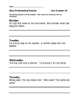 Journeys 2nd Grade Unit 4 Daily Proofreading Practice