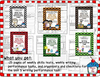 Journeys 2nd Grade- Unit 5 Bundle Skills Tests and Writing Tasks