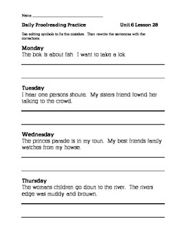 Journeys 2nd Grade Unit 6 Daily Proofreading Practice