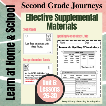 Journeys 2nd Grade - Unit 6 Student Study Guides & Activities for Lessons 26-30