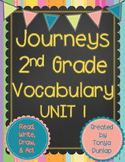 Journeys 2nd Grade Vocabulary Unit 1 Lessons 1-5, Read, Write, Draw