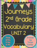 Journeys 2nd Grade Vocabulary Unit 2 Lessons 6-10, Read, Write, Draw