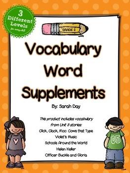 Journeys 2nd Grade Vocabulary Words Supplement, Unit 3 DIF