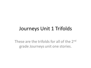 Journeys 2nd grade Unit 1 Trifolds