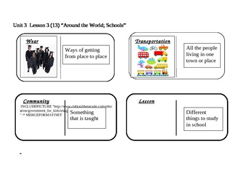 "Journeys 2nd grade reading series Vocabulary Dominoes ""Around the World"""