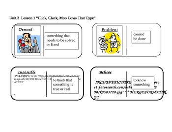 "Journeys 2nd grade reading series Vocabulary Dominoes ""Click, Click, Moo"""