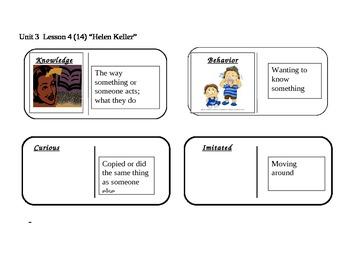"Journeys 2nd grade reading series Vocabulary Dominoes ""Helen Keller"""