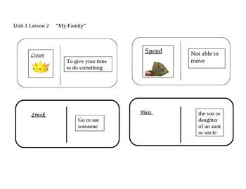 "Journeys 2nd grade reading series Vocabulary Dominoes ""My Family"""