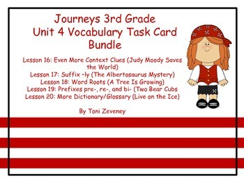 Journeys 3rd Grade Unit 4 Vocabulary Task Card Bundle