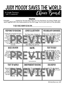 Journeys 3rd Grade Choice Boards - Unit 4