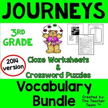 Journeys 3rd Grade Cloze Worksheet Crossword Puzzle Bundle Common Core 2014