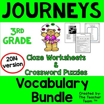 Journeys 3rd Grade Cloze Worksheet Crossword Puzzle Bundle 2014 or 2017