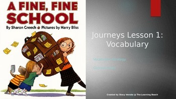 Journeys 3rd Grade Lesson 1 {Freebie} Vocabulary PowerPoint:  A Fine Fine School